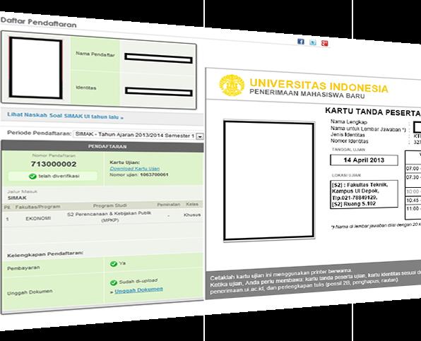Pendaftaran SIMAK UI - Unduh Kartu Ujian