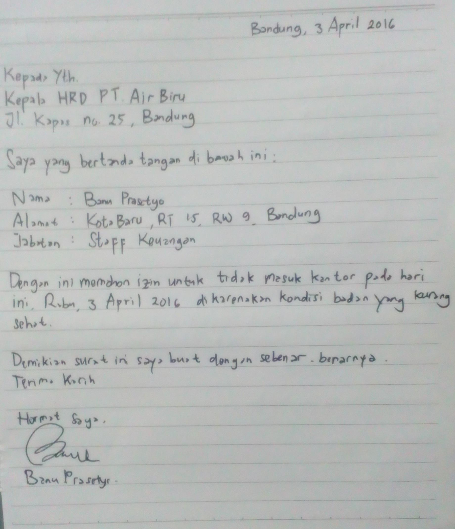 21 Contoh Surat Izin Tidak Masuk Kerja Lengkap Mamikos Info