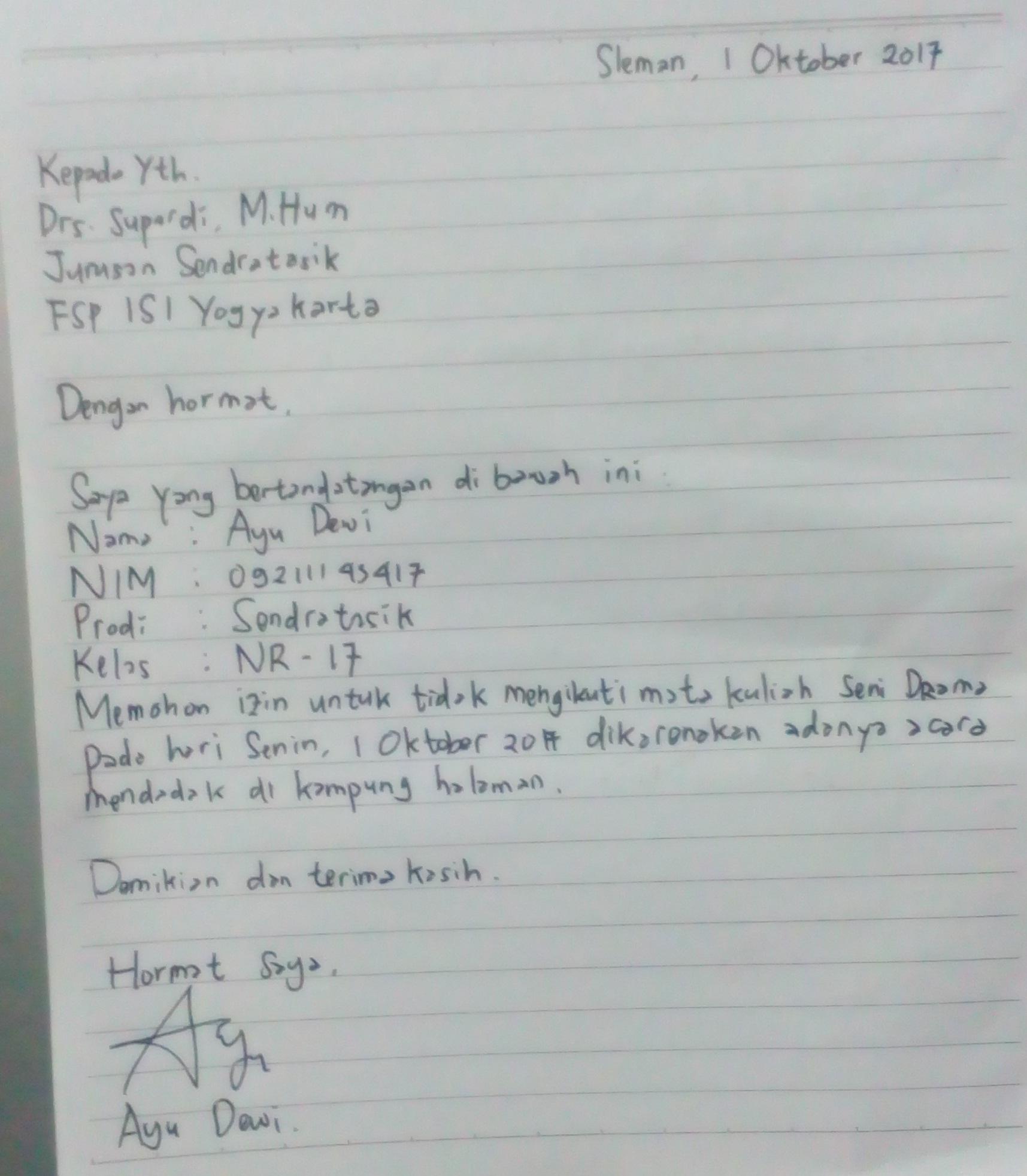 15 Contoh Surat Izin Tidak Masuk Kuliah Untuk Mahasiswa Mamikos Info