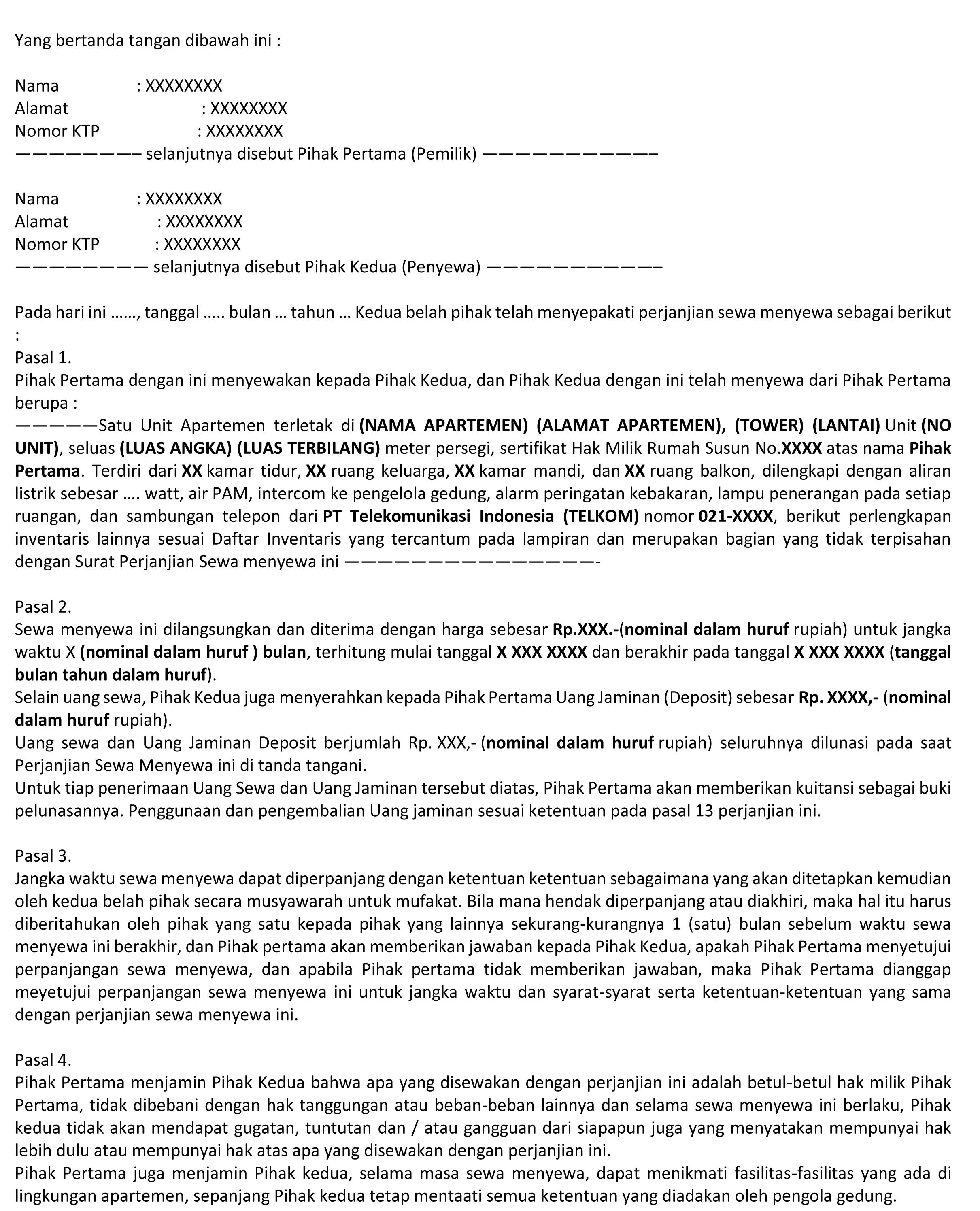 Contoh Surat Perjanjian Sewa Apartemen Yang Benar Jangan