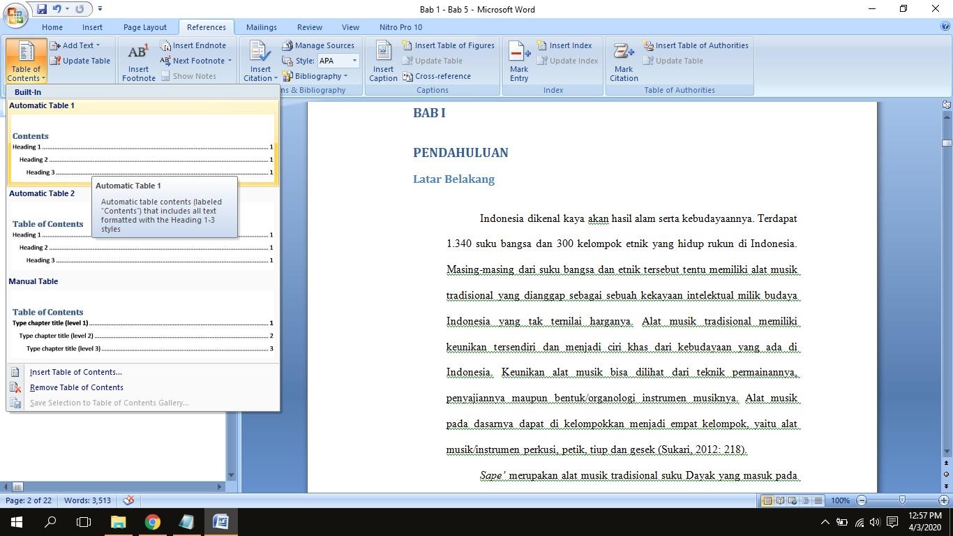 Cara Membuat Daftar Isi Otomatis Di Word 2010 2013 2007 Terbaru Mamikos Info
